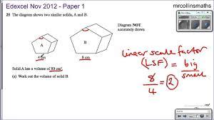 similar shapes edexcel nov 2012 3h youtube