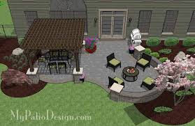 Patio Designs With Pergola by Curvy Shady And Fun With Colorful Pavers The Beautiful Patio