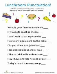 punctuation in the lunch room worksheet education com