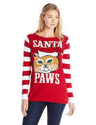 ugly christmas sweater juniors u0027 santa paws holiday tunic sweater