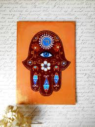 handmade hamsa hand reproduction on canvas board home blessing
