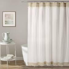 Neutral Shower Curtains Adelyn Pom Pom Shower Curtain Lush Decor Www Lushdecor