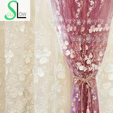 Purple Floral Curtains Soul New White Purple Embroidered Curtain Cloth Embossed