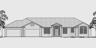 Four Car Garage Plans Sprawling Ranch Daylight Basement Great Room Rec Room 4 Car