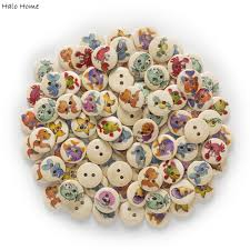 online shop 50pcs 2 hole marine life round wood buttons clothing