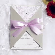 wedding invitations with ribbon pink and gray pocket ribbon wedding invitations ewpi090 as