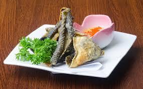 cuisine japonaise santé cuisine japonaise peau frite de poissons sur le fond image stock