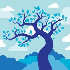 blue tree illustration vector free