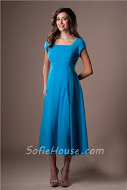 modest a line tea length turquoise blue chiffon party bridesmaid