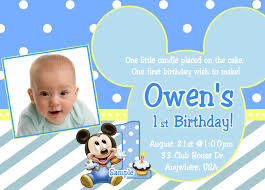 Sample Of 1st Birthday Invitation Card Mickey Mouse First Birthday Invitations U2013 Gangcraft Net