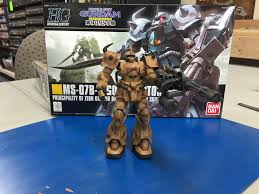 complete building and camo painting of a bandai gundam gouf custom