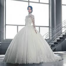 wedding dress online shop sleeve lace white wedding dress 2017 a line high neck wedding