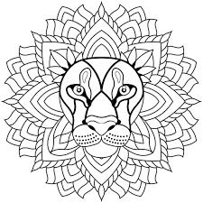Coloriage Mandala lion en Ligne Gratuit à imprimer