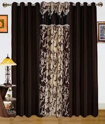 Eyelet Curtains Dekor World Set Of 3 Door Eyelet Curtains Floral Brown And Beige