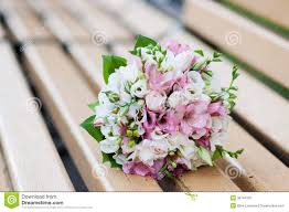 wedding flowers pink wedding bouquet on banch white and pink flowers stock photo