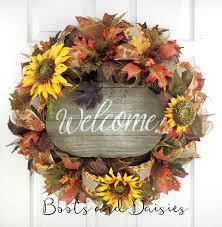 fall mesh wreaths for front door sunflower wreath fall deco