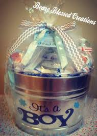 baby shower present i made galvanized with baby bath items