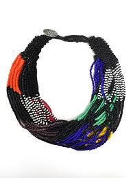 black bead necklace images Traditional south african multi strand necklace black red green jpg