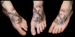 anchor star rose tattoo on foot real photo pictures images