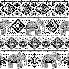 vintage indian elephant seamless pattern with tribal ornaments