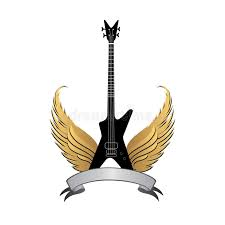 rock symbol electric guitar with wings and bow ribbon stock