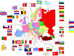 Europe Country Flags Map Of Europe With Country Flags U2014 Stock Vector Leonido 7110285