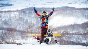 motocross snow bike feature japanese snow bike adventure dirt action
