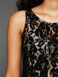 free people sleeveless miles of lace dress in black lyst