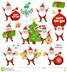 set of colorful christmas characters and decorations happy new