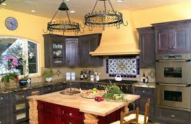 mexican kitchen ideas yellow wall color with reddish brow kitchen island design for