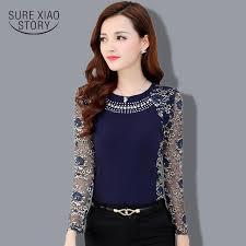 sleeve lace blouse 2015 autumn slim patchwork plus size lace blouse shirt
