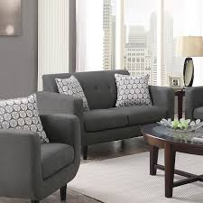 living room grey couches with white ceramic floor and small glass