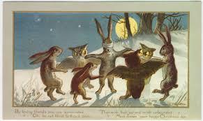 rabbits owls blind buff seasonal greetings pinterest