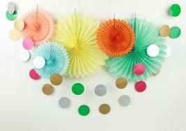 new 6pcs summer theme paper fan colorful garland set yellow blue