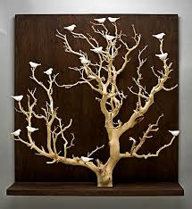 large wood wall hanging birds in trees large by chris stiles ceramic wood wall