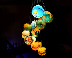 earth globes that light up gorgeous recycled globe chandelier lights up our world inhabitat