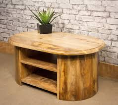 end table with shelves mantis solid mango fruitwood oval tv stand cabinet unit coffee table
