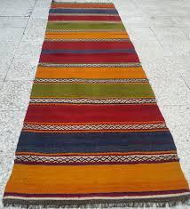 Colorful Kilim Rug Multicolor Striped Turkish Kilim Rug Runner Vintage Handwoven