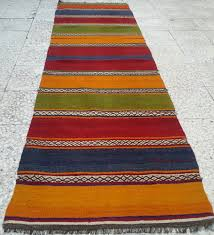 Floor Runner Rugs Multicolor Striped Turkish Kilim Rug Runner Vintage Handwoven