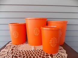 orange kitchen canisters set of 4 vintage tupperware orange kitchen canisters containers with