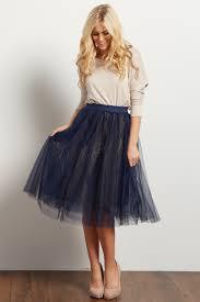 navy blue tulle mesh gold sparkle underlay midi skirt