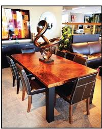 Copper Dining Room Tables Copper Dining Table With Leather Upholstered Chairs With Thick