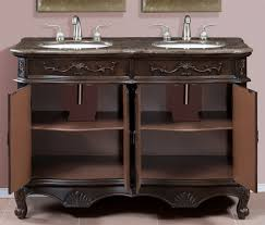 Marble Top Double Vanity 50 Inch Double Sink Vanity With Brown And Grey Marble Top