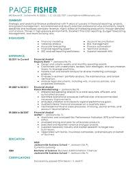 resume format sle resume template financial analyst resume format free resume