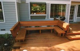 Deck Wood Bench Seat Plans by A Redwood Bench With Backs Built In A U Shape For Wonderful Area