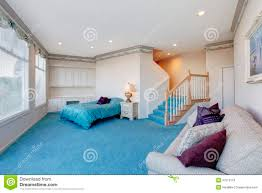 Light Blue And White Bedroom Amazing Light Blue And White Bedroom With Glass Wall Stock Image
