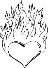 heart flames fire coloring pages free download