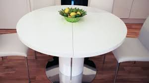 bianca white high gloss glass round extending dining table