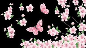 spring branch with pink flowers and butterflies png clipart