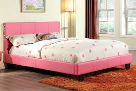 pink leatherette upholstered bed frame w bluetooth speakers